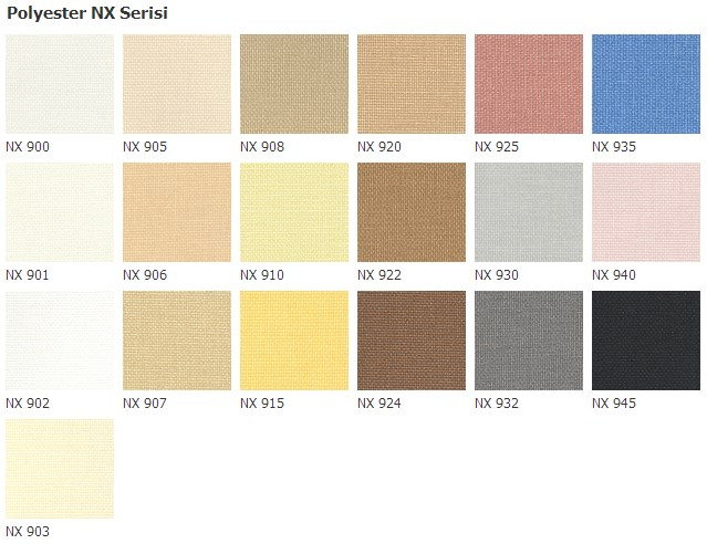 polyester nx colors for blinds stores